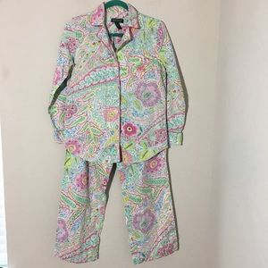 Ralph Lauren Paisley Long Sleeve Pants Pajama Set